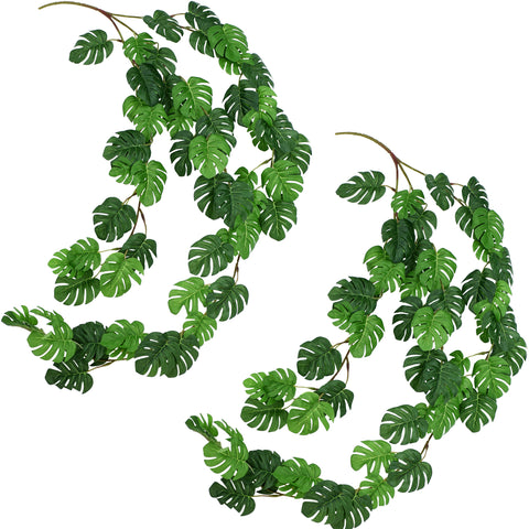 FiveSeasonStuff 2 Pcs Mini Monstera Leaves Garland Artificial Silk Leaf Vine Hanging Garland for Wall Decoration, Wedding, Bridal, Wreaths