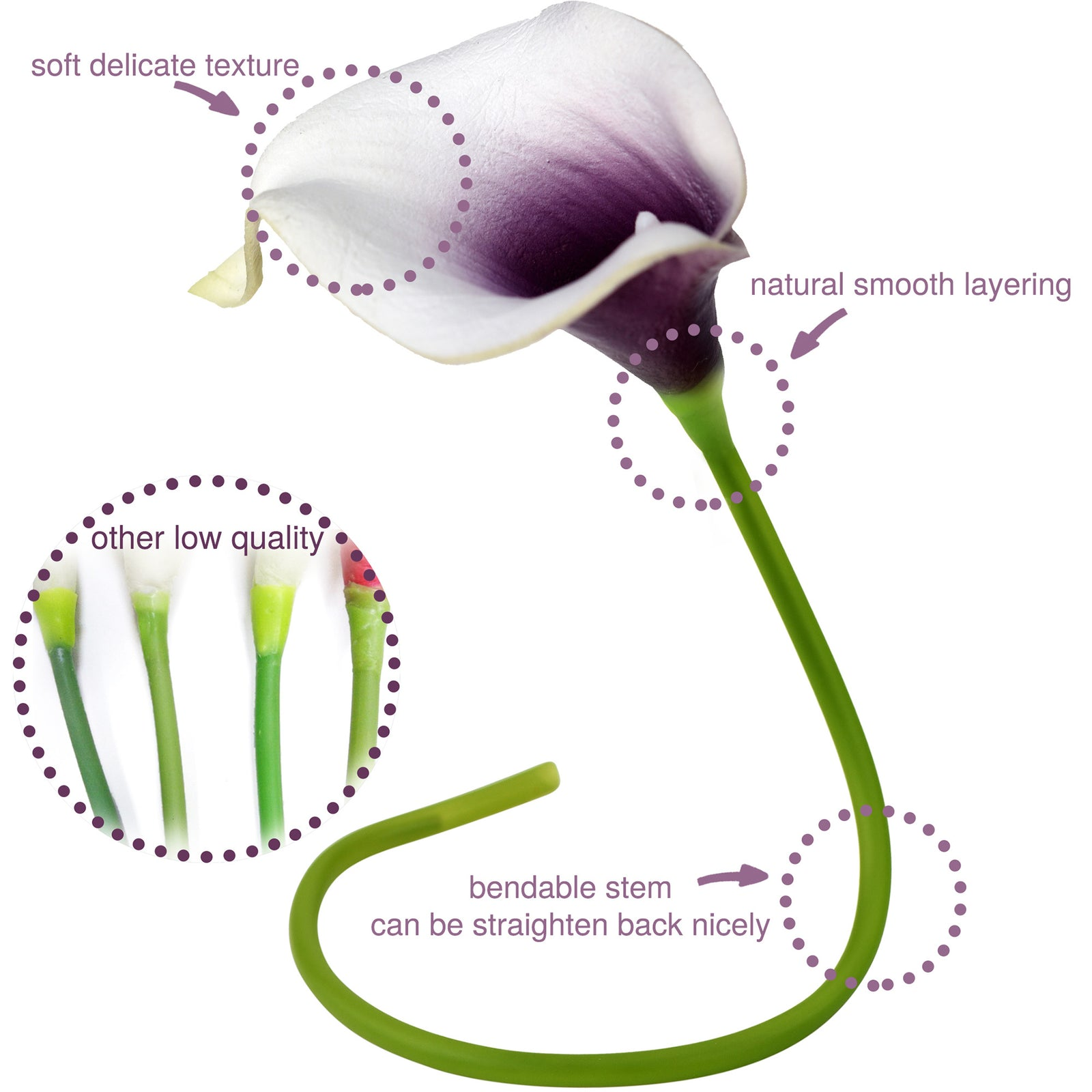 FiveSeasonStuff 15 Stems Real Touch (Purple Delight Mix) Calla Lilies Artificial Flower Bouquet, Wedding, Bridal, Home Décor DIY
