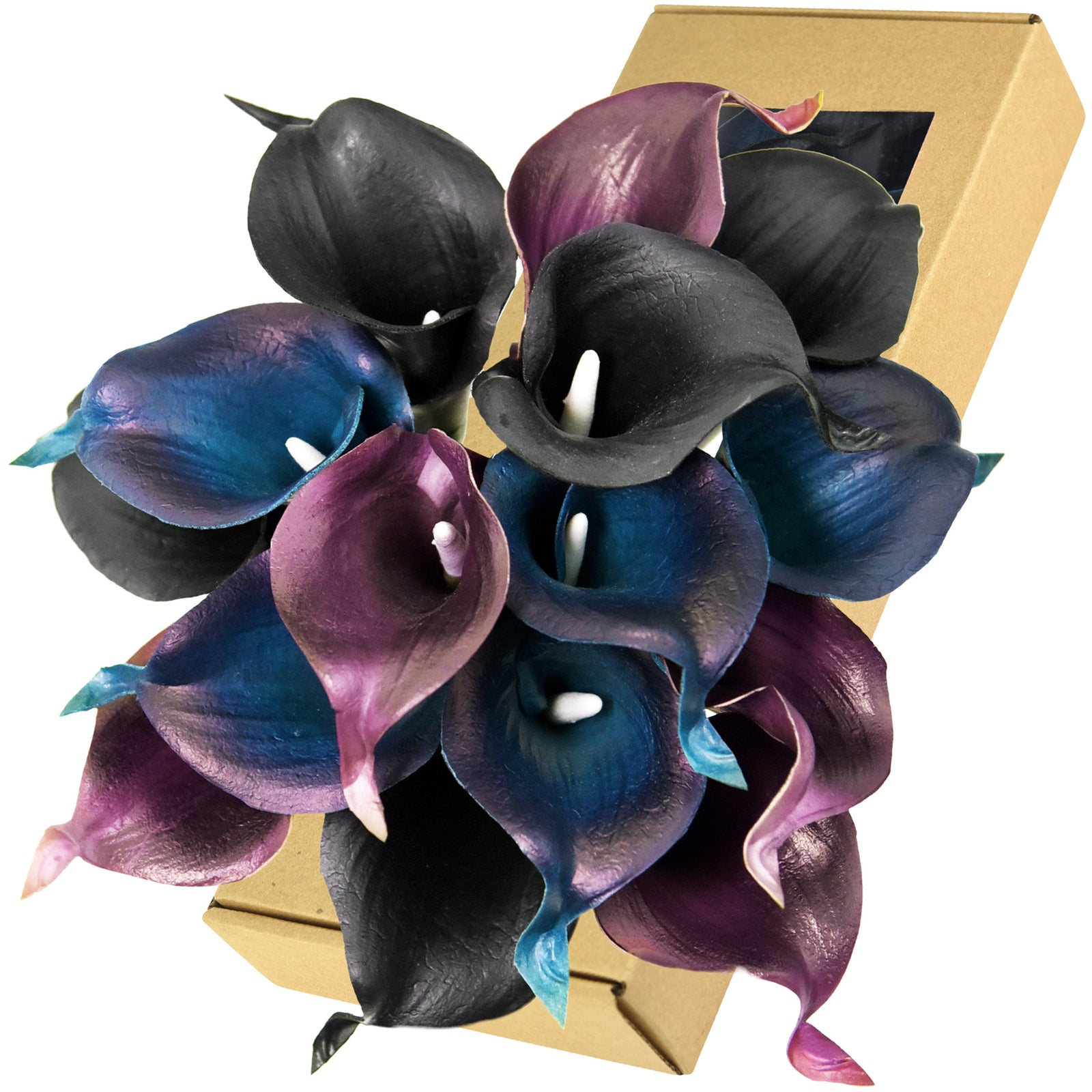 FiveSeasonStuff 15 Stems Real Touch (Stargazer Purple Blue & Black) Calla Lilies Artificial Flower Bouquet, Wedding, Bridal, Home Décor DIY