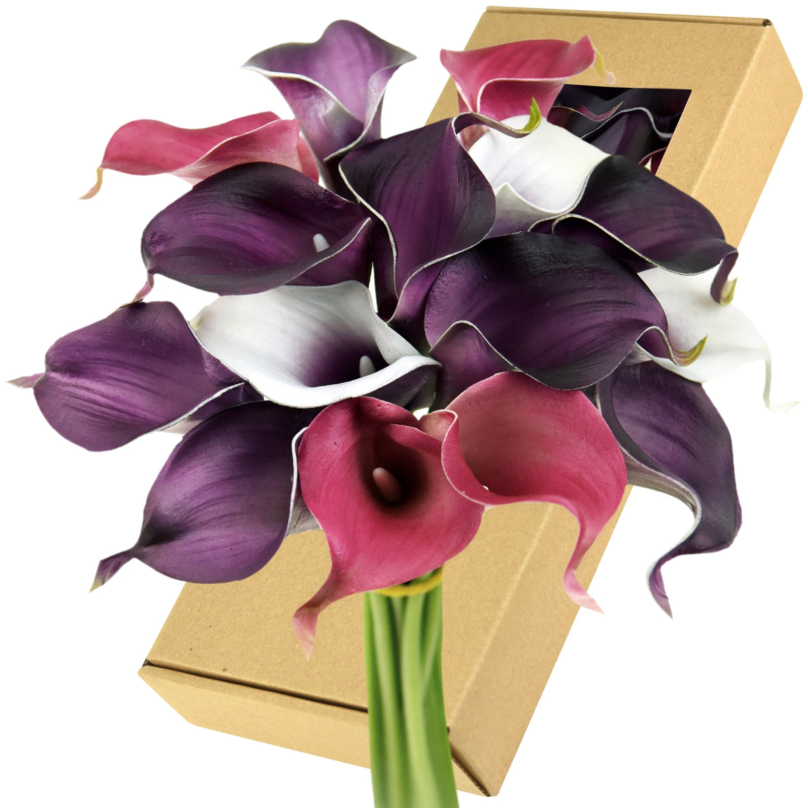 FiveSeasonStuff 15 Stems Real Touch (Joyful Purple Mix) Calla Lilies Artificial Flower Bouquet, Wedding, Bridal, Party, Home Décor DIY