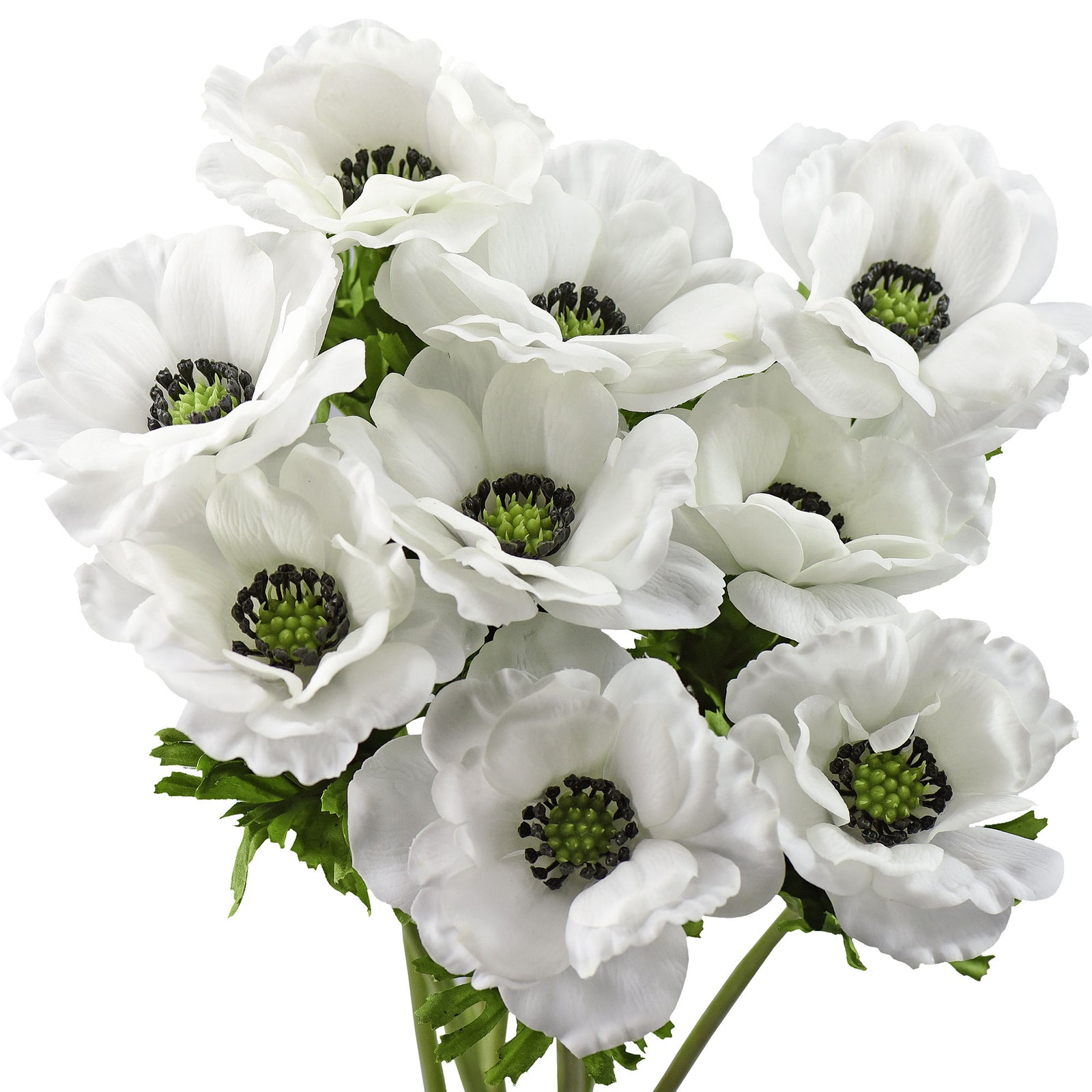 9 Long Stems of 'Real Touch' (White) Artificial Anemone Silk Flowers with Leaves 48cm (18.9 inches)