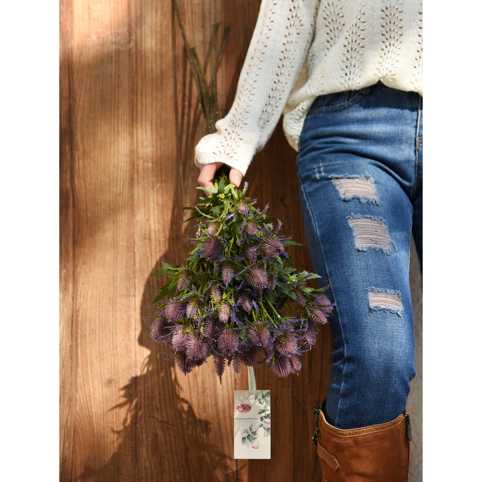 FiveSeasonStuff 5pcs (Purple) Real Size Artificial Real Touch Eryngium(Sea Holly)
