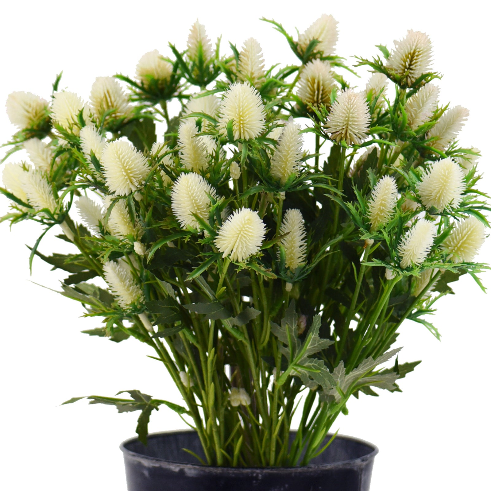 FiveSeasonStuff 5pcs (White) Real Size Artificial Real Touch Eryngium(Sea Holly)