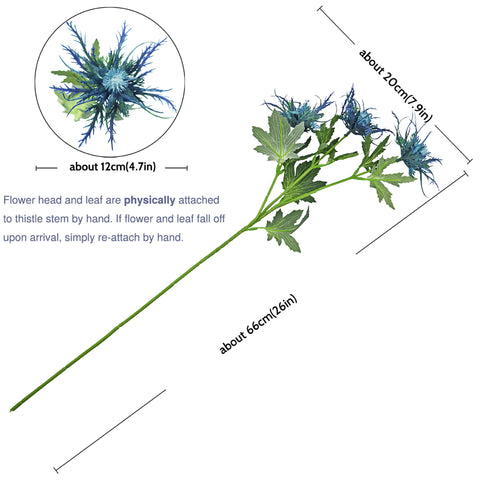 FiveSeasonStuff Real Size Artificial Real Touch Eryngium(Sea Holly)- Big Blue