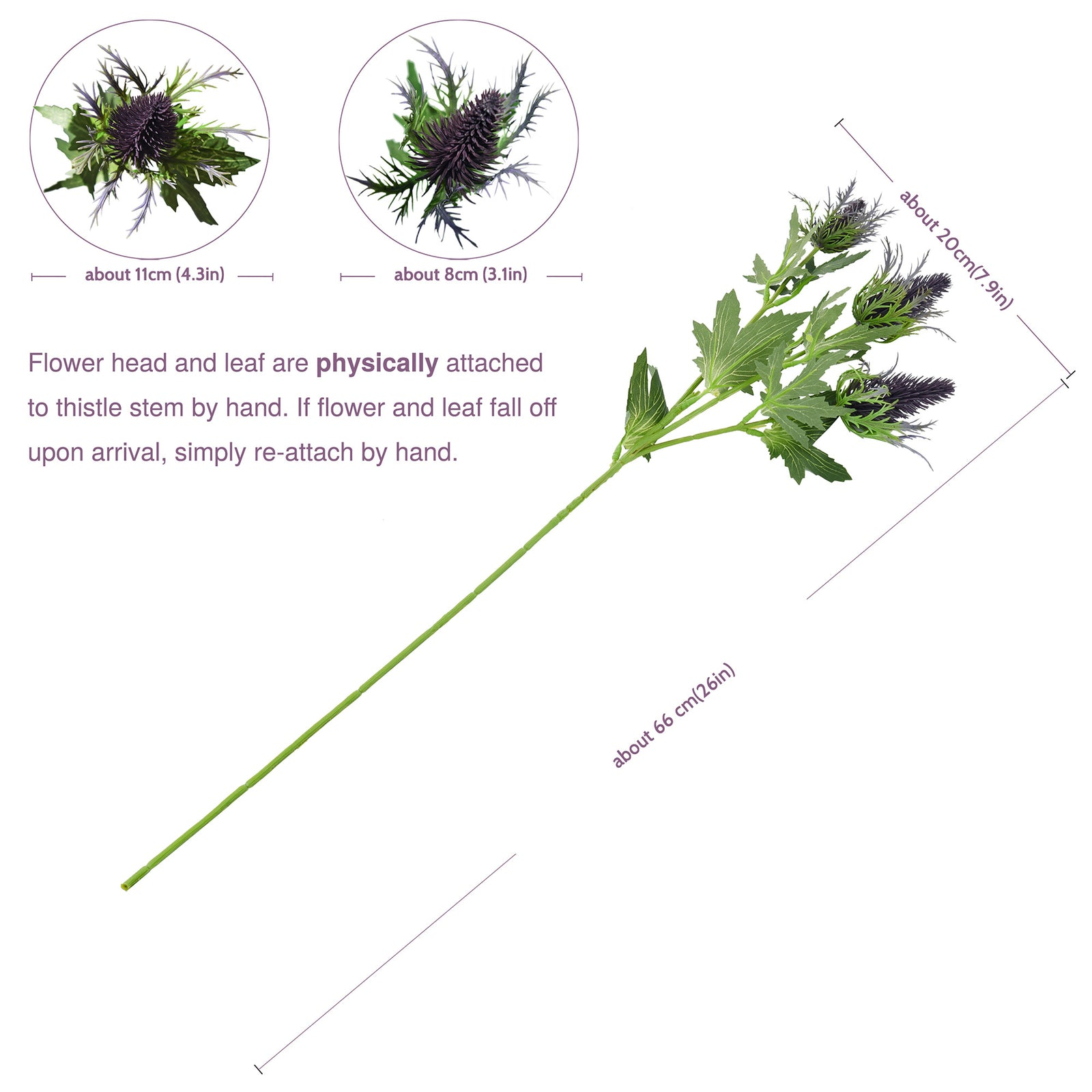 FiveSeasonStuff Real Size Artificial Eryngium(Sea Holly)- Purple