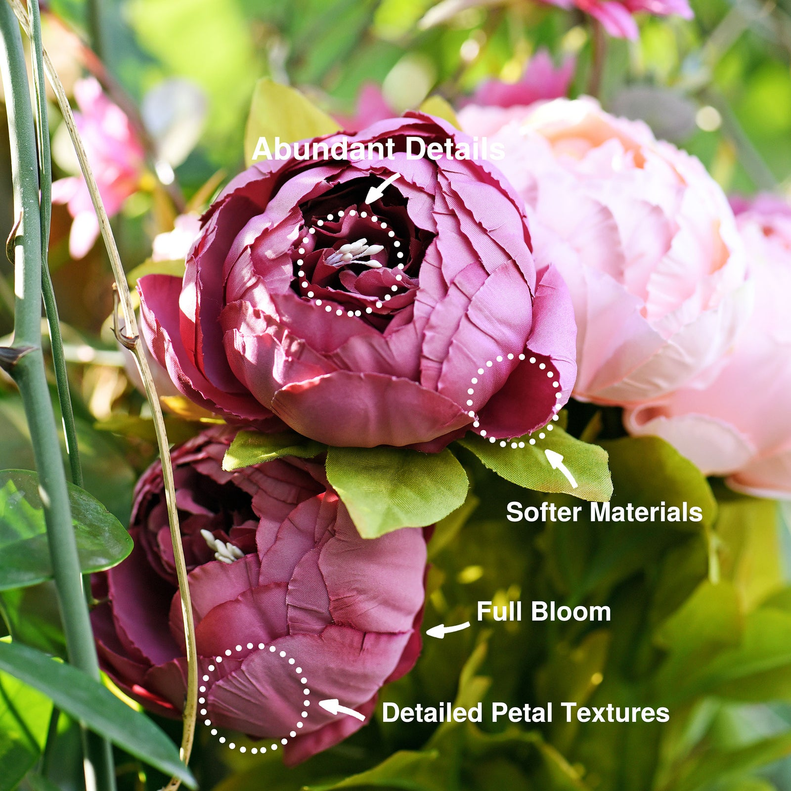 FiveSeasonStuff 2 Bundles (Cheerful Medley) Silk Peonies Artificial Flower Bouquet