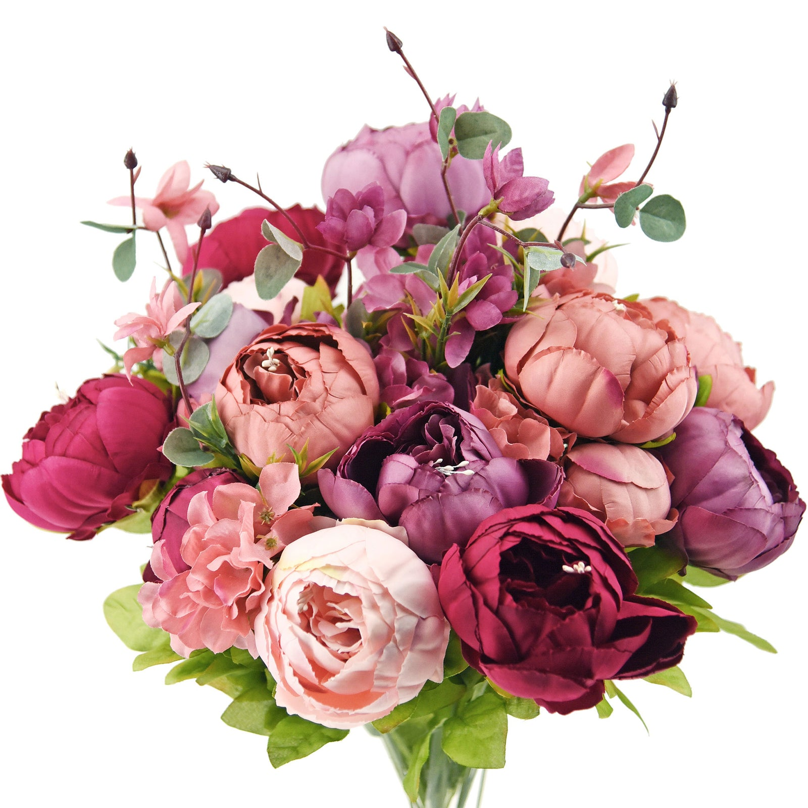 FiveSeasonStuff 2 Stems (Cheerful Medley) Silk Peonies Artificial Flower Bouquet