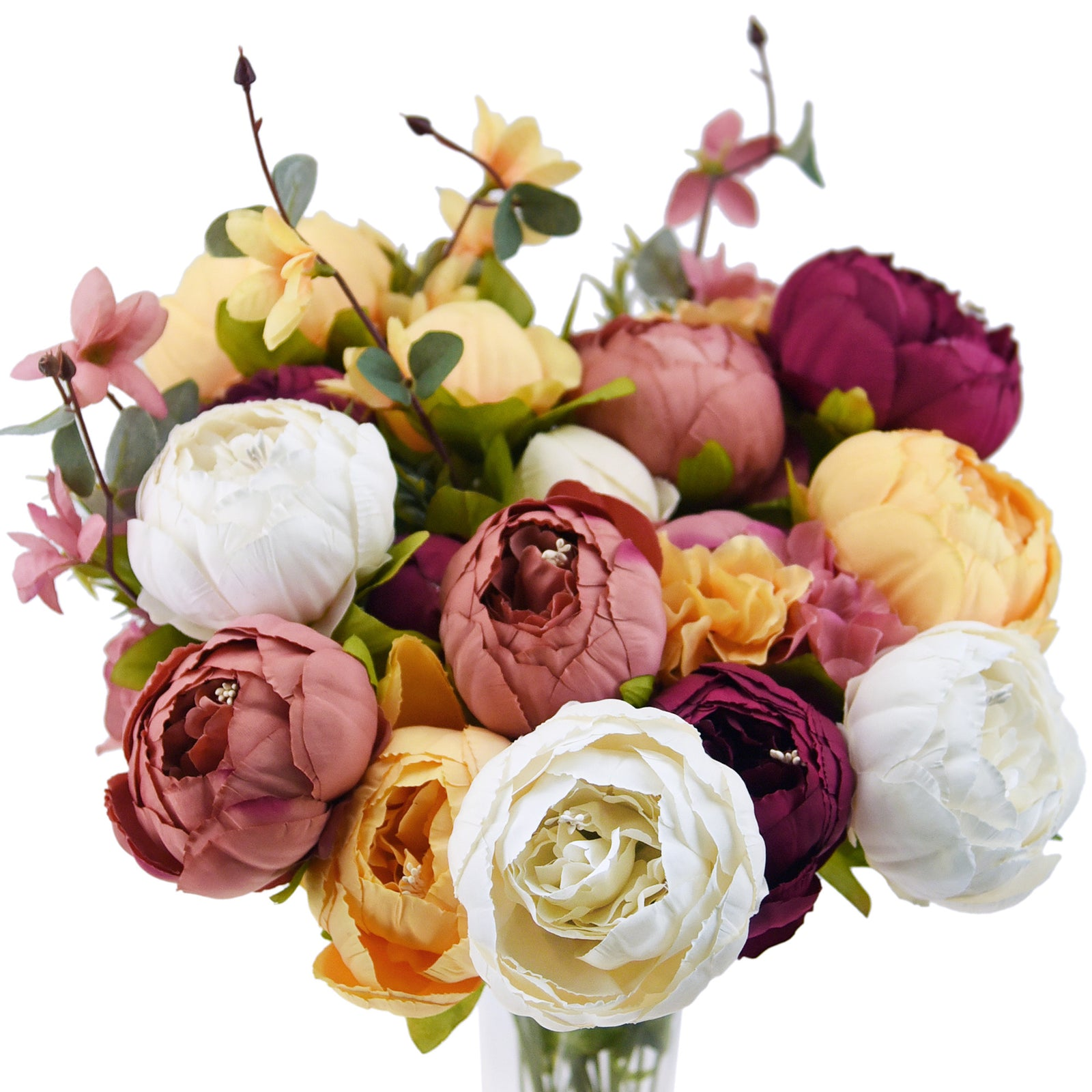 FiveSeasonStuff 2 Stems (Country Delightful) Silk Peonies Artificial Flower Bouquet