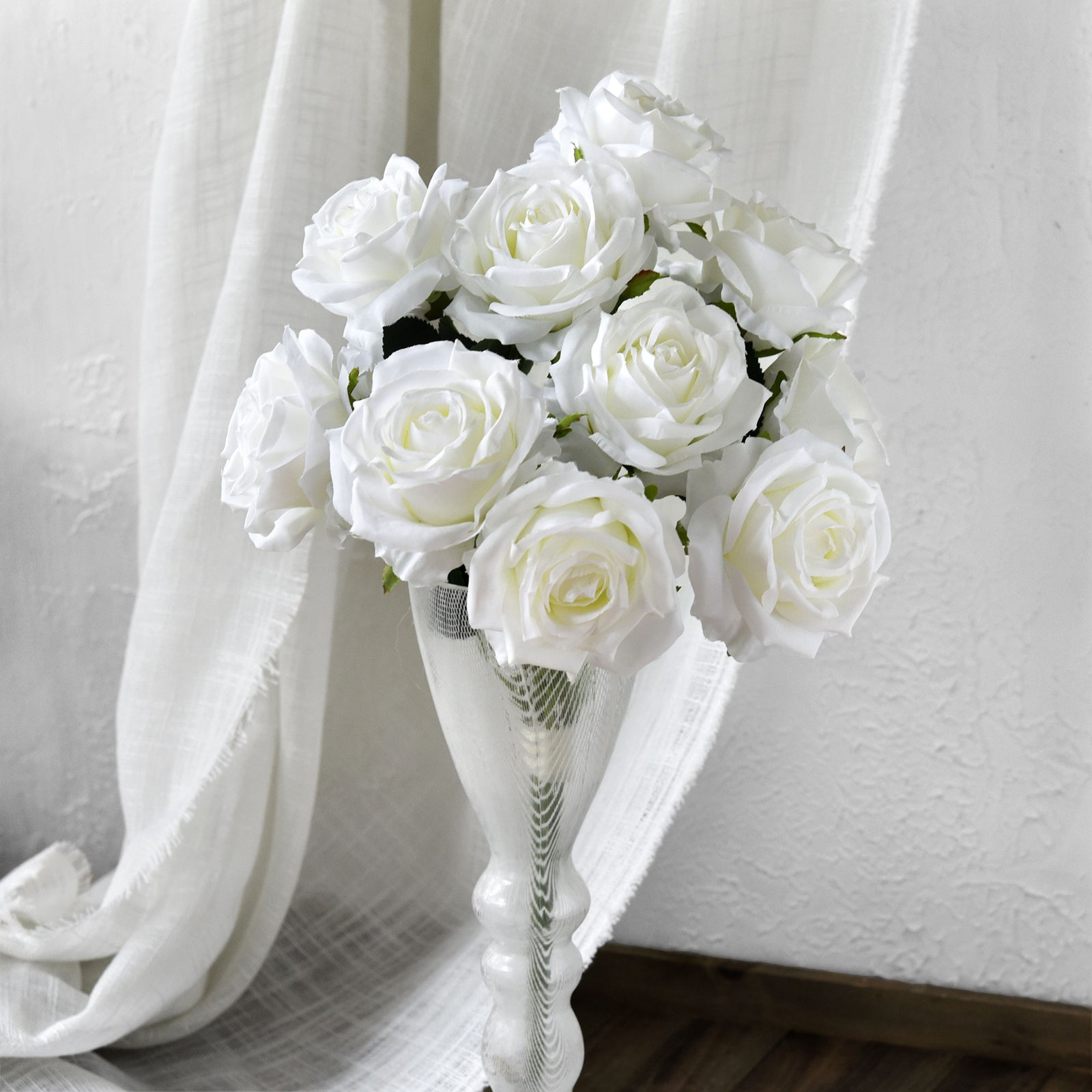 1 Bundle Full Bloom Silk White Roses Artificial Flowers, Home Décor, Wedding, Bridal FiveSeasonStuff