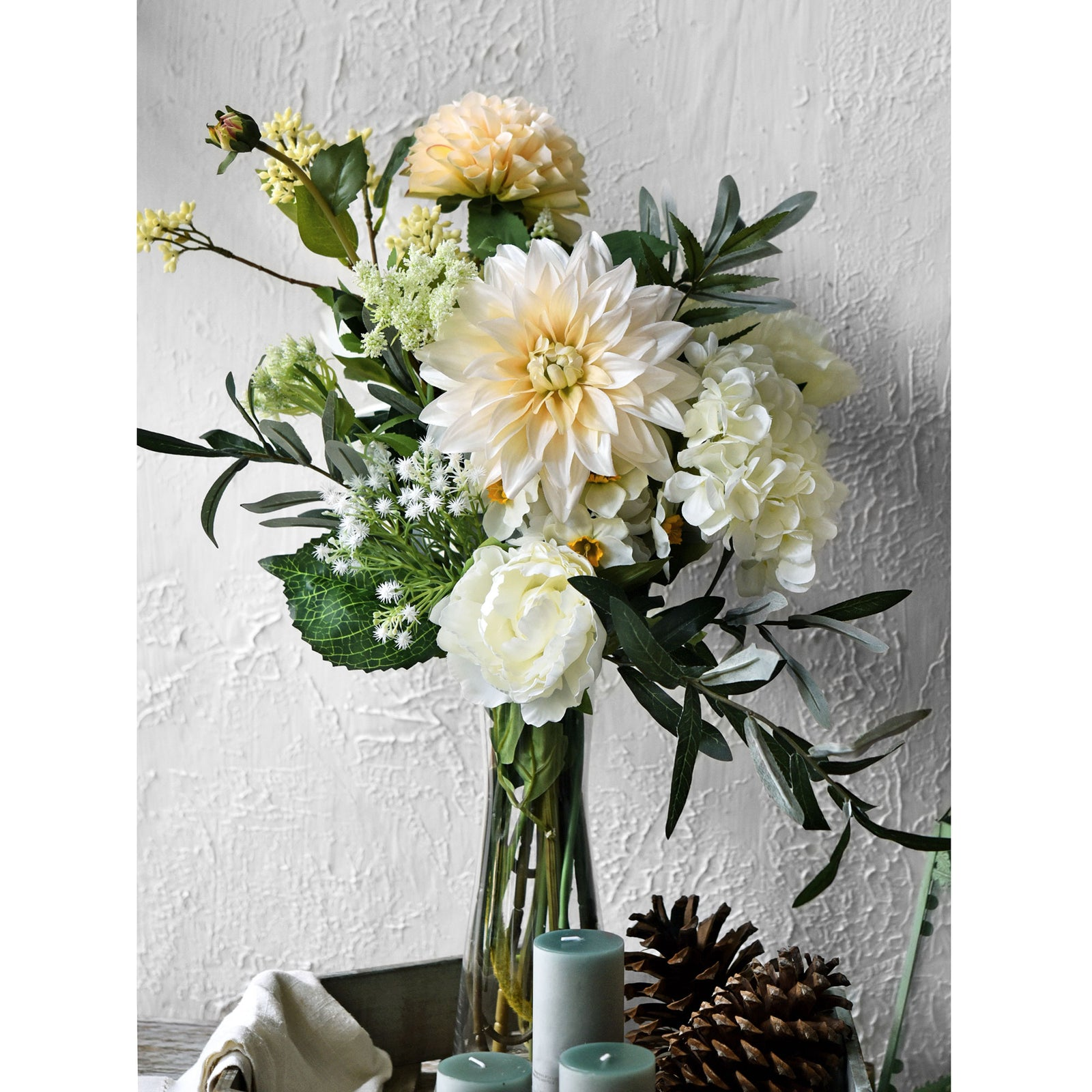 FiveSeasonStuff Artificial Flowers Dahlia Silk Flowers for Outdoors Indoors and Tall Vases (Classic White)