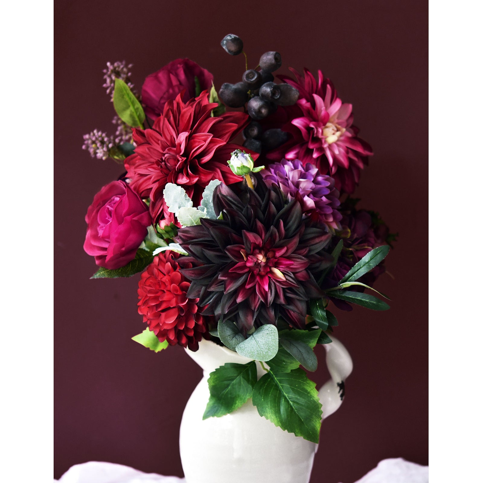 FiveSeasonStuff Artificial Flowers Dahlia Silk Flowers for Outdoors Indoors and Tall Vases (Dark Plum Purple)