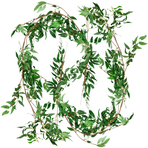 FiveSeasonStuff 2 Pcs Willow Leaves Garland Artificial Silk Leaves Vine Hanging Decorations for Home Wall Decoration, Wedding Decor, Bridal, Wreaths (Willow Leaves (green)