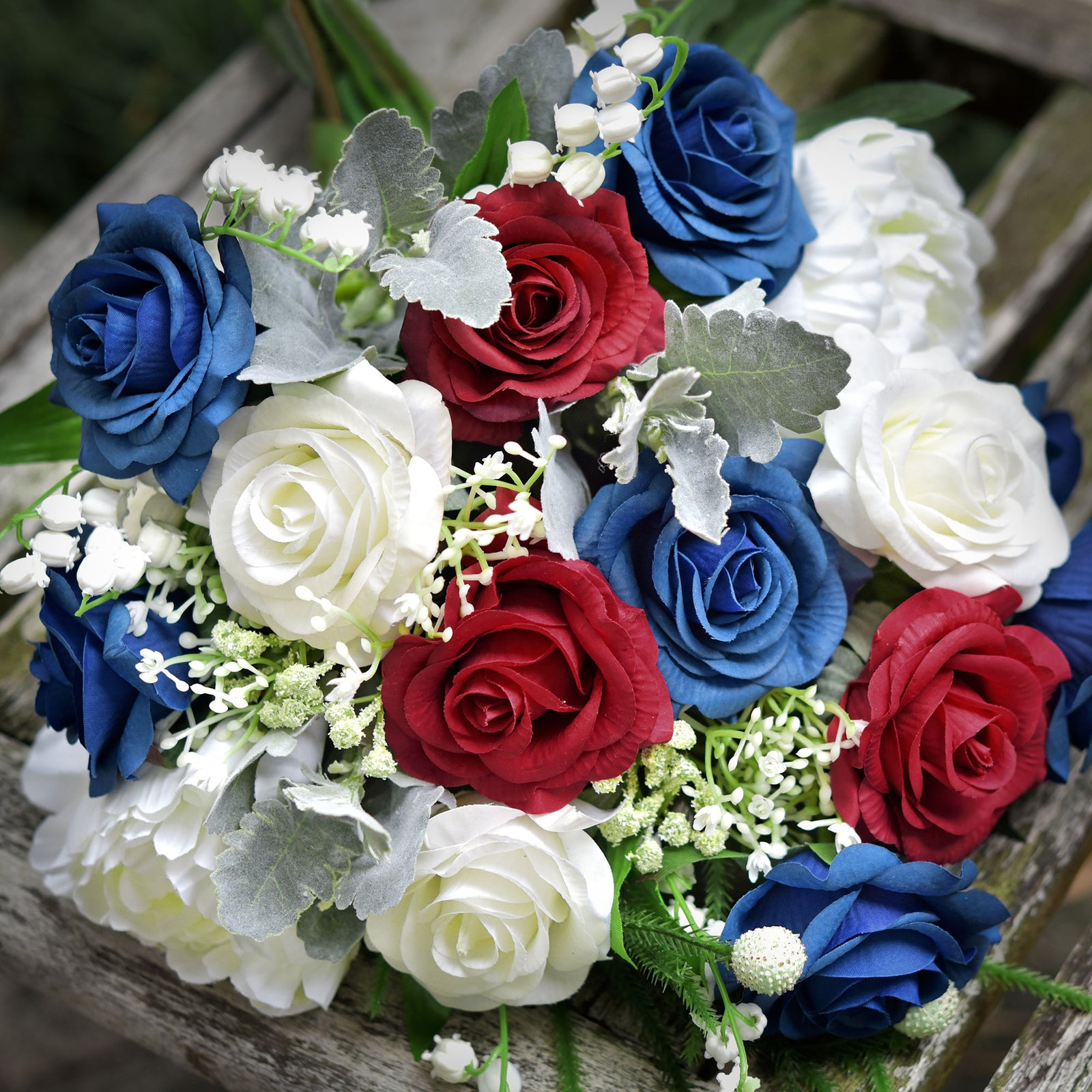 Real Touch 10 Stems Royal Blue Silk Artificial Roses Flowers 'Petals Feel and Look like Fresh Roses'