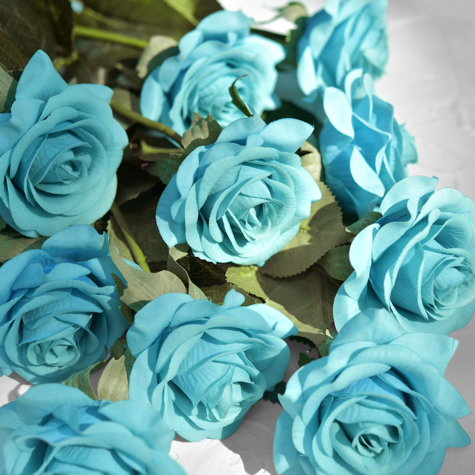 Real Touch 10 Stems Dark Turquoise Silk Artificial Roses Flowers 'Petals Feel and Look like Fresh Roses'