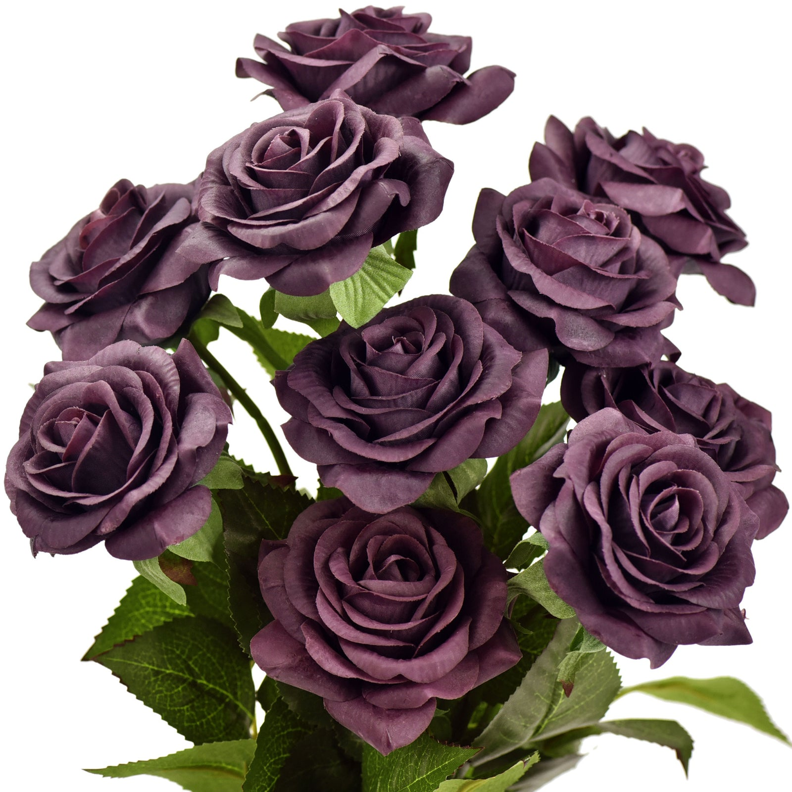 Real Touch 10 Stems Burgundy Silk Artificial Roses Flowers 'Petals Feel and Look like Fresh Roses'