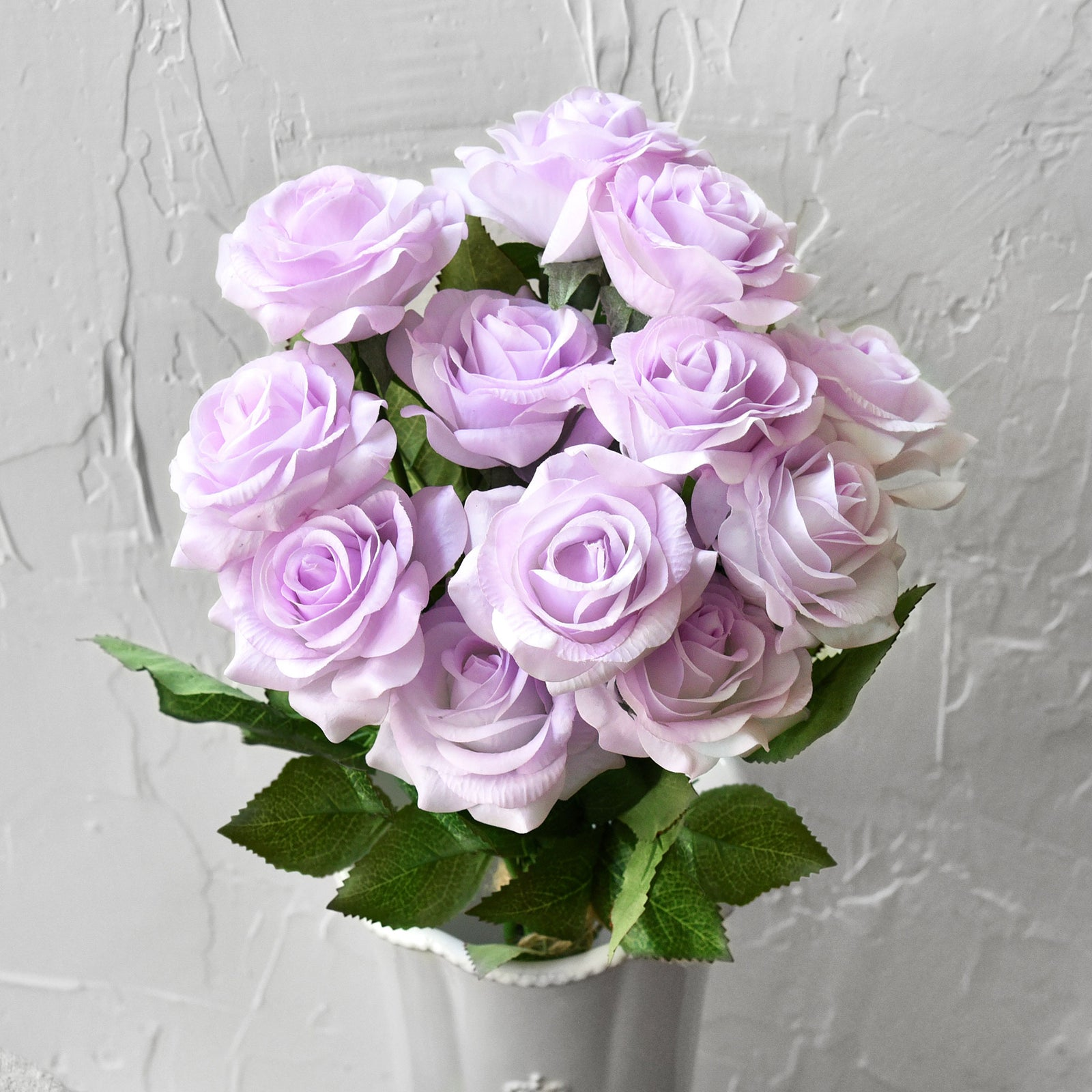 "Real Touch 10 Stems ""Pale Purple"" Silk Artificial Roses Flowers 'Petals Feel and Look like Fresh Roses'"