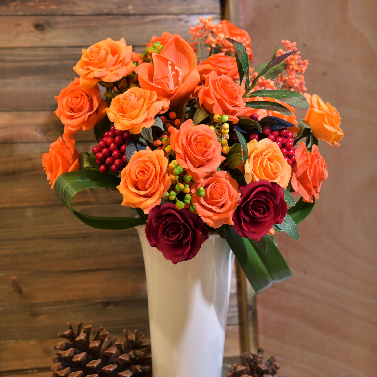 Real Touch 10 Stems Tangerine Silk Artificial Roses Flowers 'Petals Feel and Look like Fresh Roses'