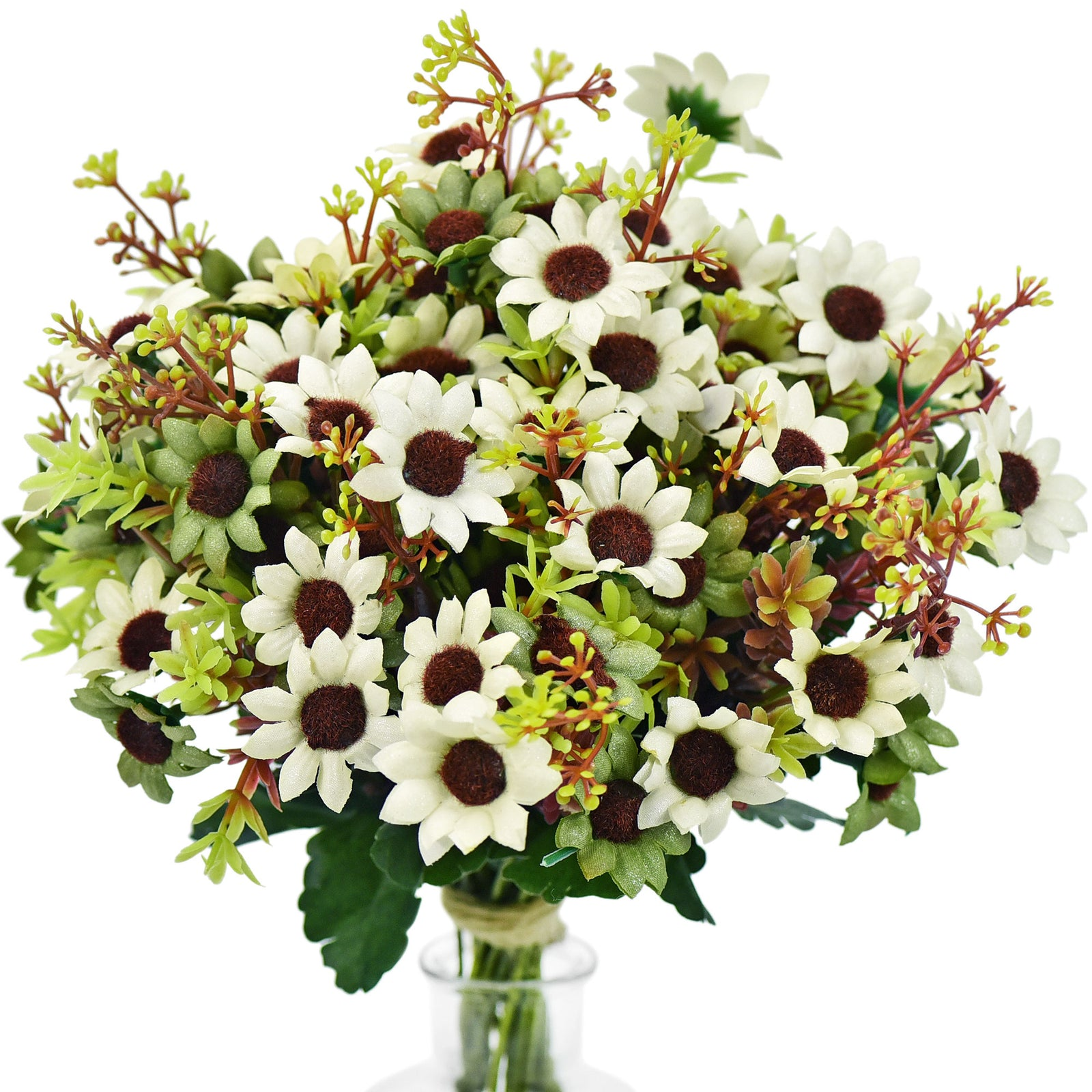 FiveSeasonStuff Daisy Silk Flowers, Outdoor Artificial Flowers Arrangement (4 Flower Bundles,) 13 inches Tall (White & Green Medley)