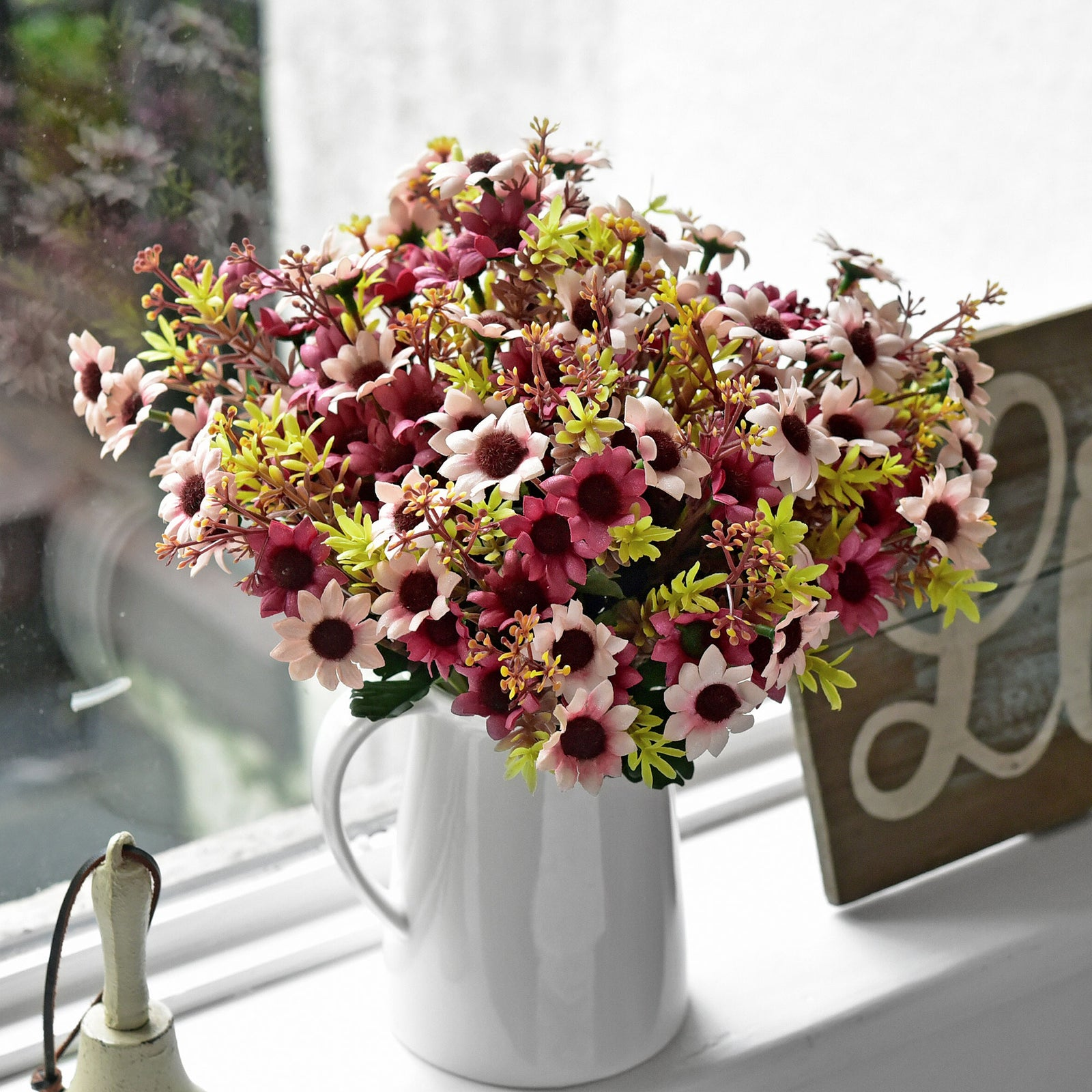 FiveSeasonStuff Daisy Silk Flowers, Outdoor Artificial Flowers Arrangement (4 Flower Bundles,) 13 inches Tall (Mixed Sweet Pinks)