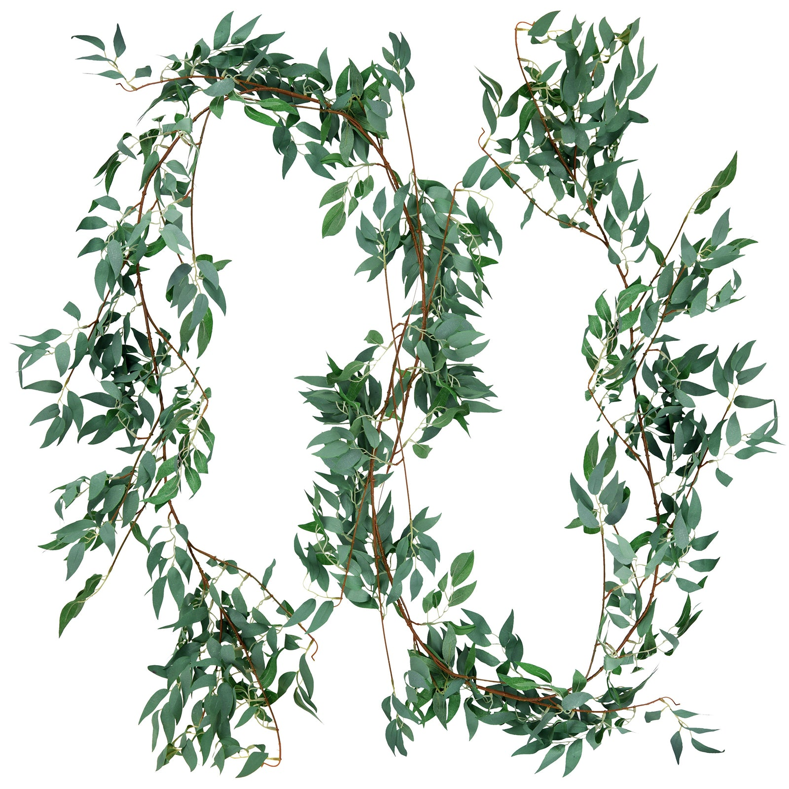 FiveSeasonStuff 2 Pcs Willow Leaves Garland Artificial Silk Leaves Vine Hanging Decorations for Home Wall Decoration, Wedding Decor, Bridal, Wreaths (foggy green)