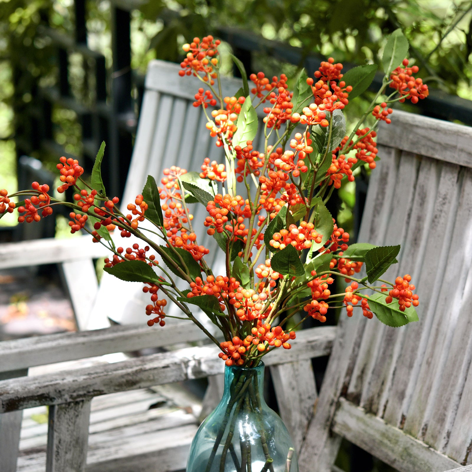 FiveSeasonStuff Artificial Fruit Orange Holly Berries Decoration for Vases, Bouquets and Floral Arrangements, 6 Berry Stems
