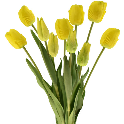 FiveSeasonStuff 10 Stems of (Yellow) Soft and Long Stem Real Touch Tulip Artificial Flowers Bouquet, Wedding, Bridal, Home Decor