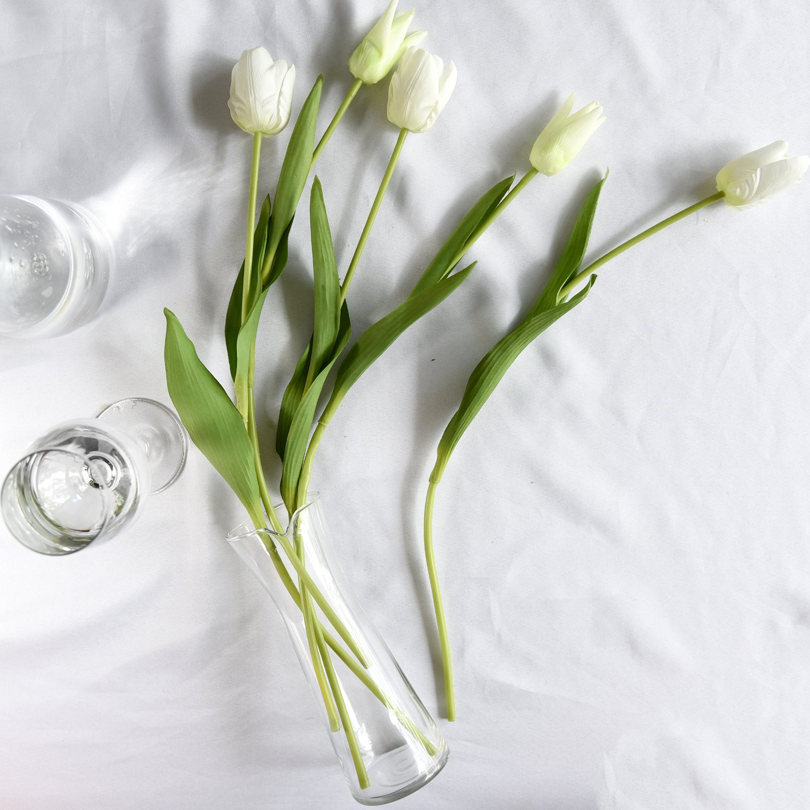 FiveSeasonStuff 10 Stems of (White) Soft and Long Stem Real Touch Tulip Artificial Flowers Bouquet, Wedding, Bridal, Home Decor