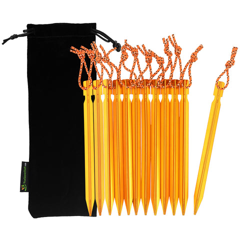 Black drawstring pouch and 12 pieces of gold tent stakes with orange reflective ropes attached