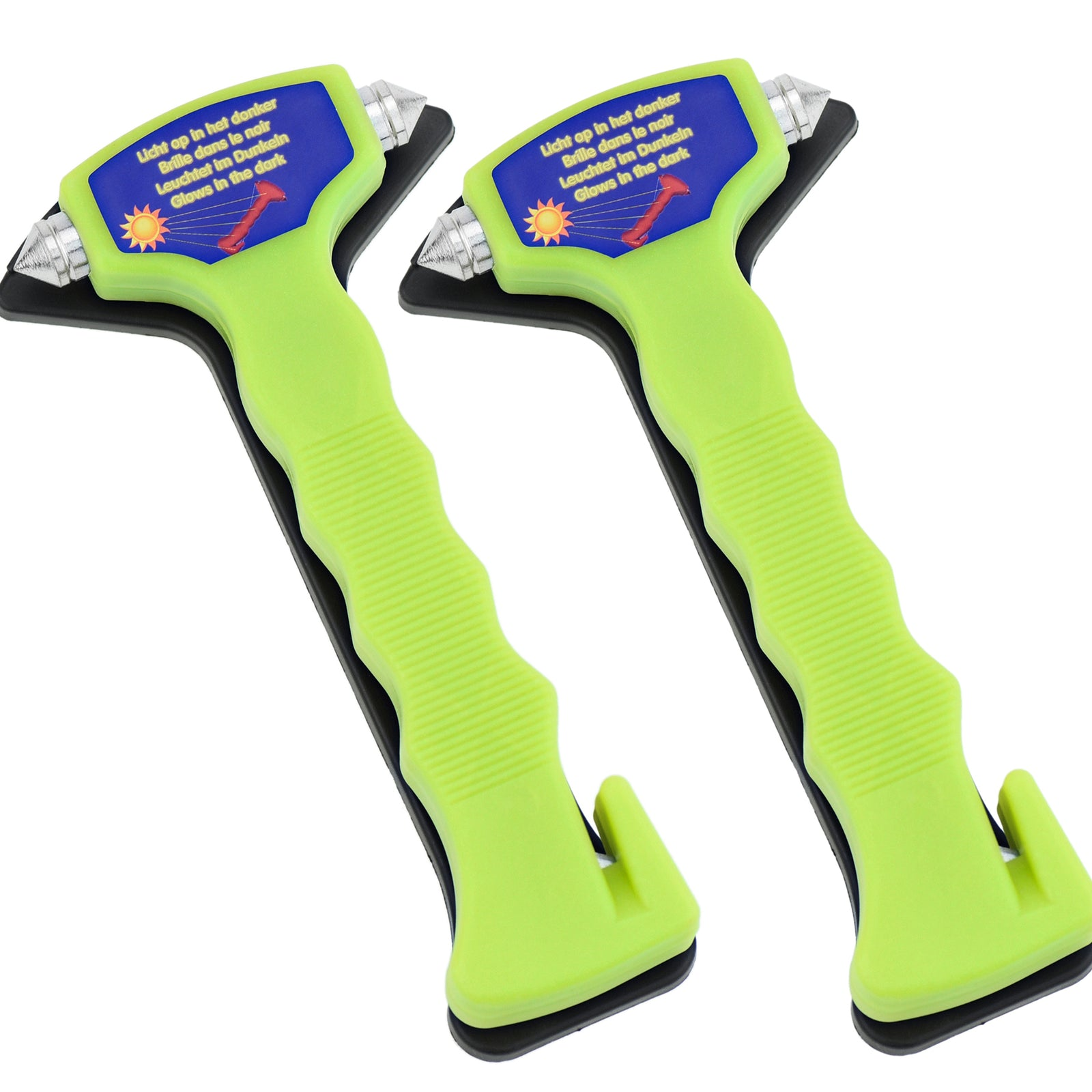 Two green emergency hammer placed in their own black mounting bracket. These hammers can glow in the dark.