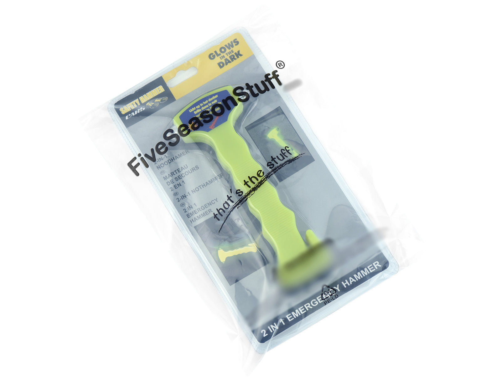 Two green emergency handles with black mounting brackets sealed in a FiveSeasonStuff branded packaing bag