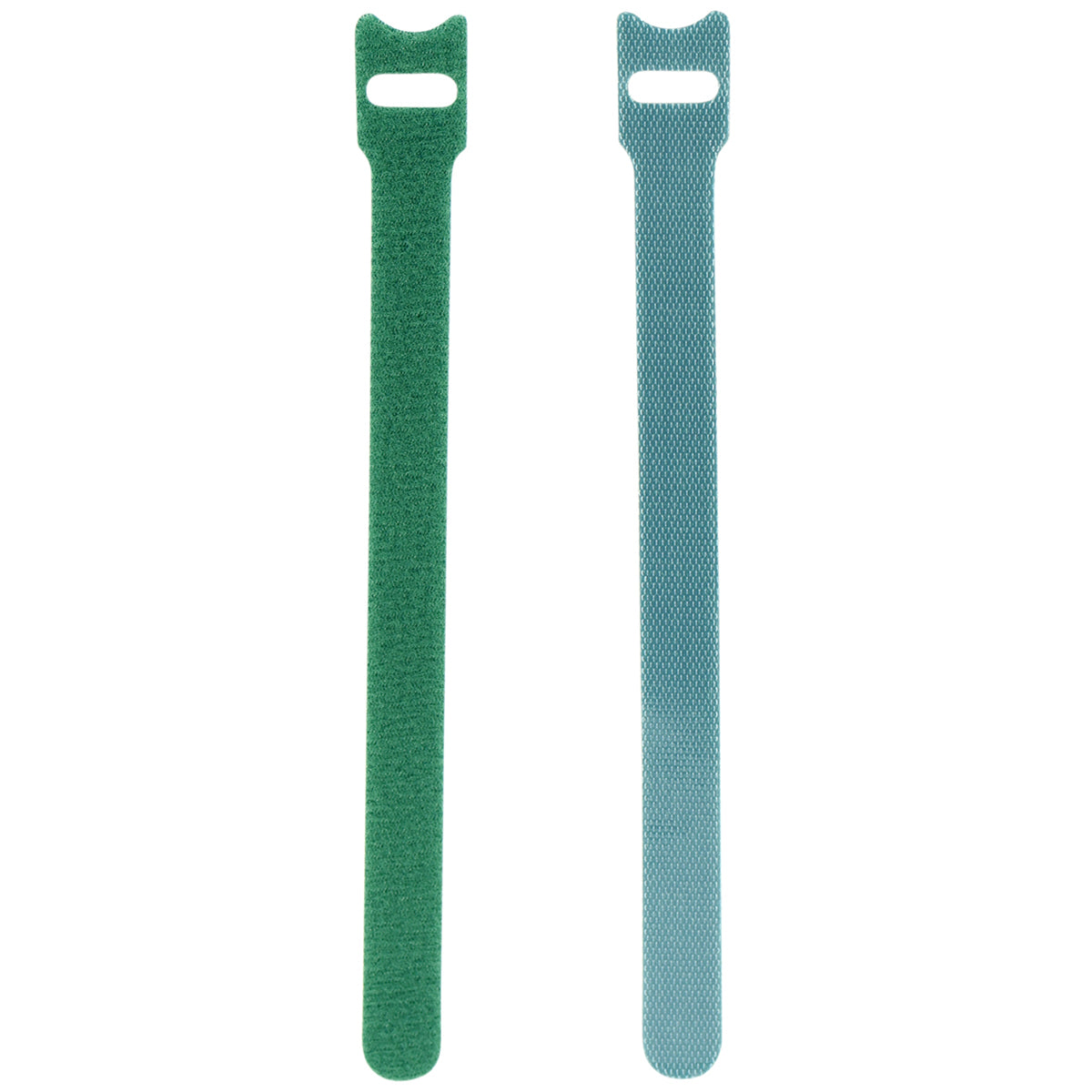 Displaying of two upright green nylon cable ties