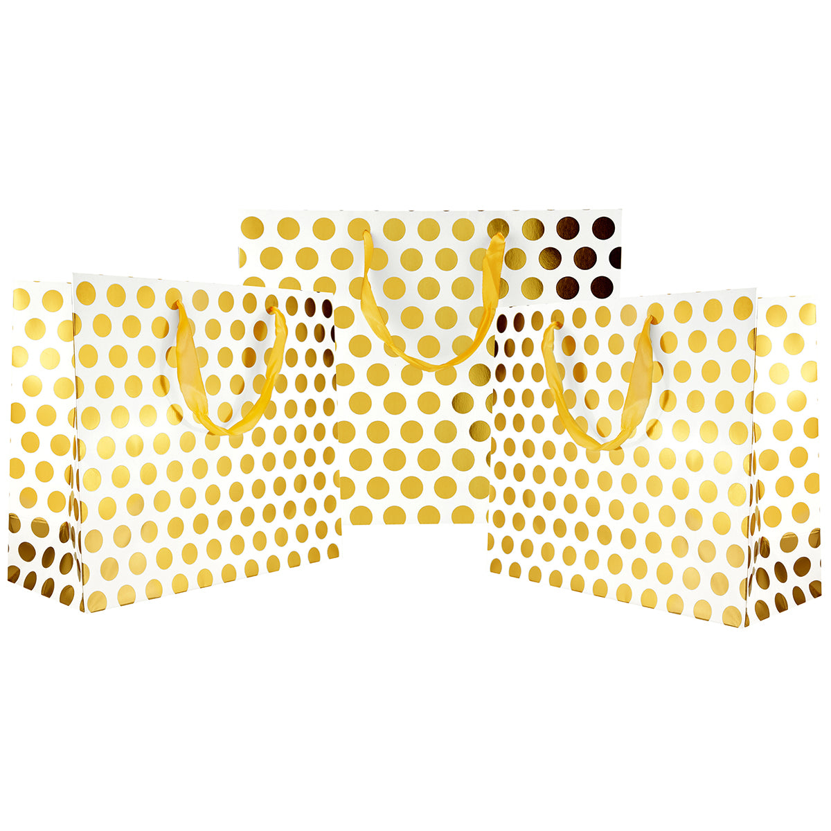 Three standing gold polka dots large paper bags with gold satin ribbon handles