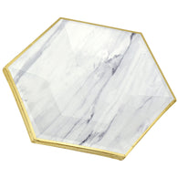24 stacked large marble design paper plates display in a white background