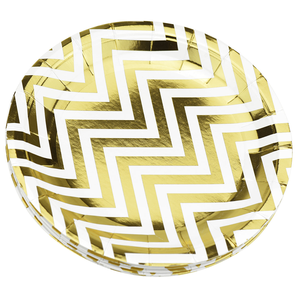 16 stacked large white and gold zigzag design round paper plates display with a white background