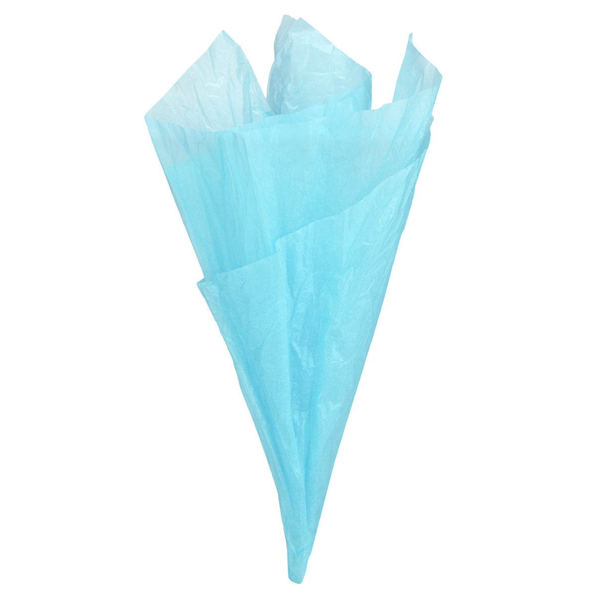 Displaying of a light blue tissue paper in ice cream cone shape