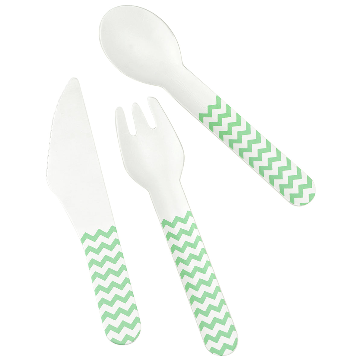 Displaying a set of paper cutlery with light green zigzag pattern, which includes knife, fork and spoon