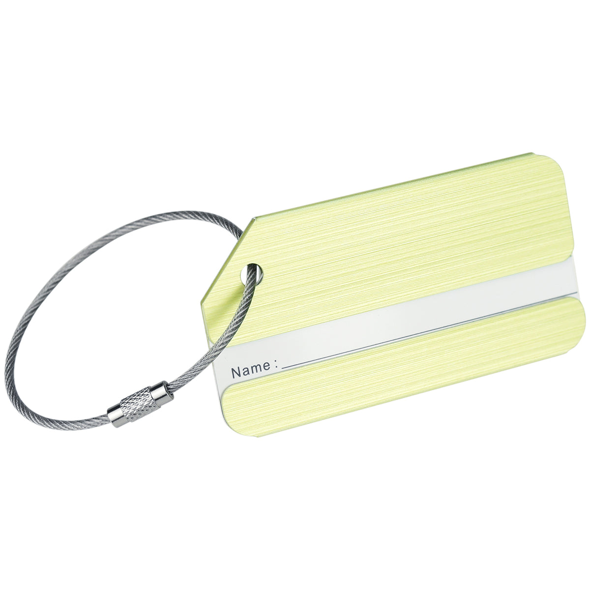 A light yellow brushed aluminum luggage tag that is designed to show 'name' only, display with a white background. The luggage tag has locking ring.