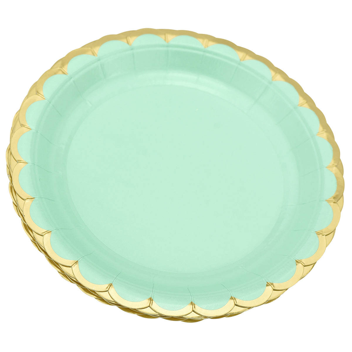 24 stacked mint green round paper plates with gold wavy edge display with a  white background