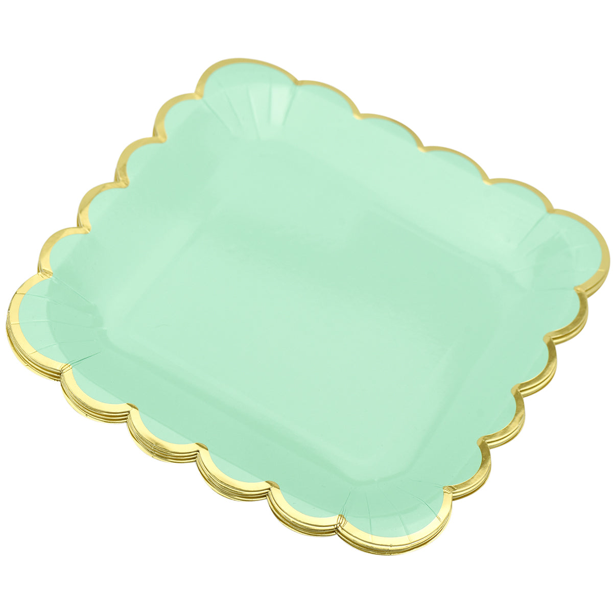 24 stacked gold wavy edge mint green square paper plates display in a white background