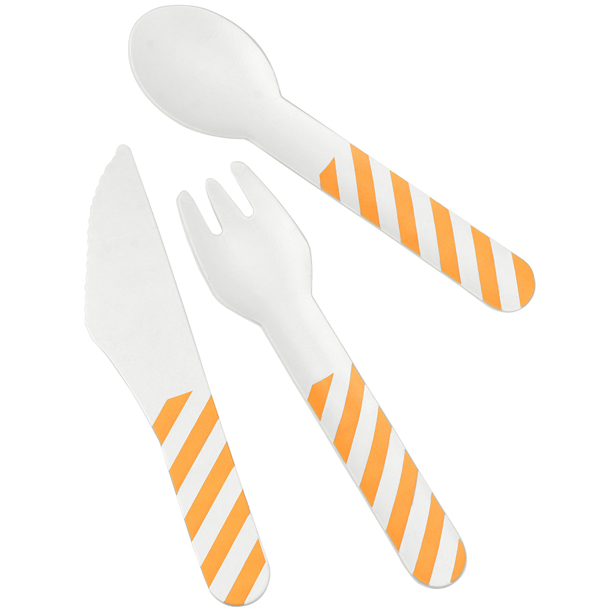 Displaying a set of orange stripe paper cutlery, which includes knife, fork and spoon