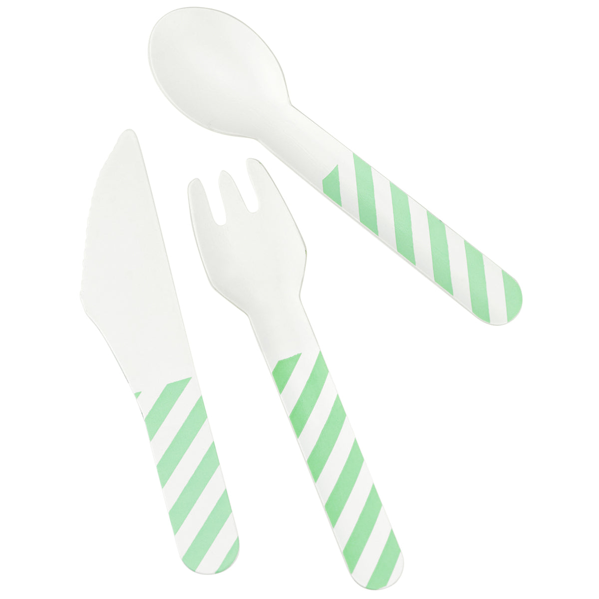 Displaying a set of light green striped paper cutlery, which includes knife, fork and spoon