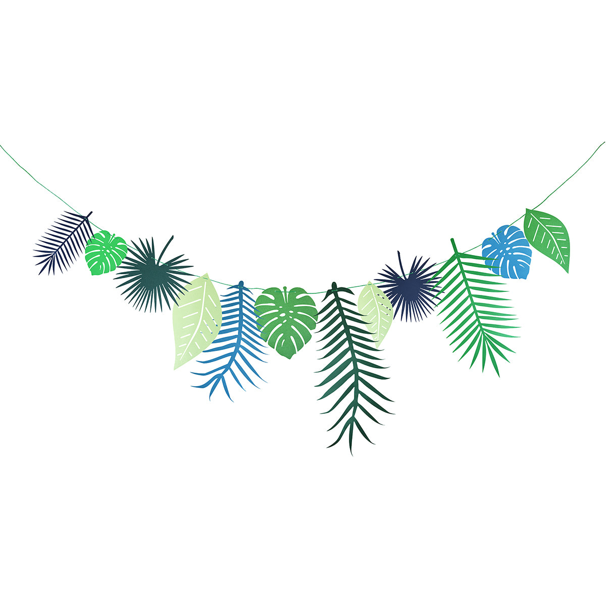 Displaying a tropical leaves garland. 12 paper leaves pendants with 3 meters long ribbon.