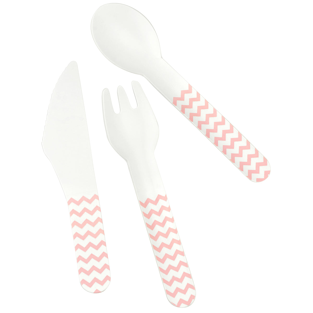 Displaying a set of paper cutlery with pink zigzag pattern, which includes knife, fork and spoon