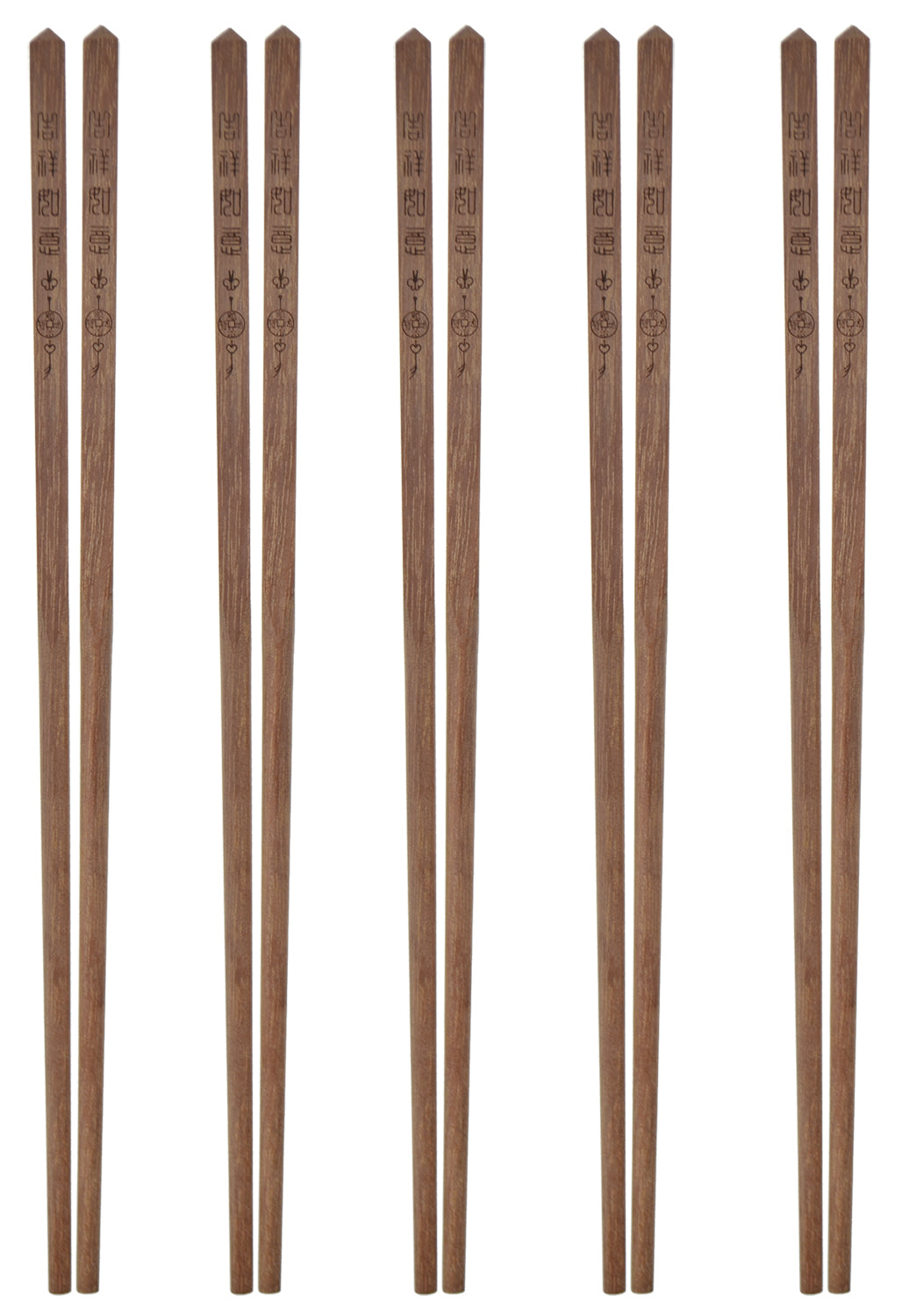 All Natural Solid Sandal Wood with Chinese Characters Chopsticks