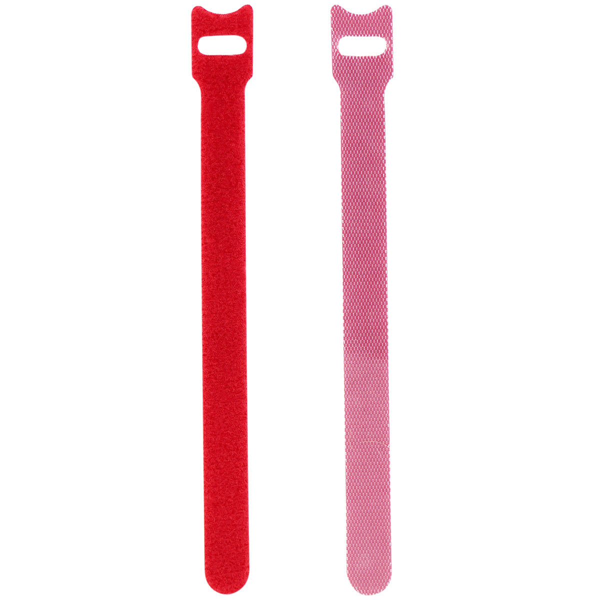 Displaying of two upright red nylon cable ties