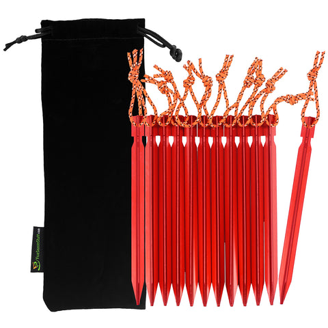 Black drawstring pouch and 12 pieces of red tent stakes with orange reflective ropes attached