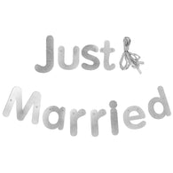 Silver 'Just Married' Wedding Banner