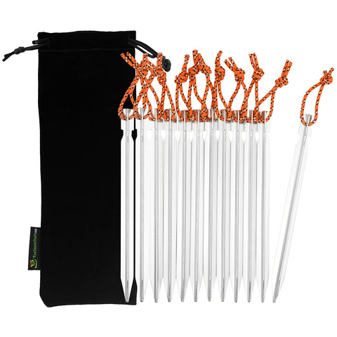 Black drawstring pouch and 12 pieces of silver tent stakes with orange reflective ropes attached