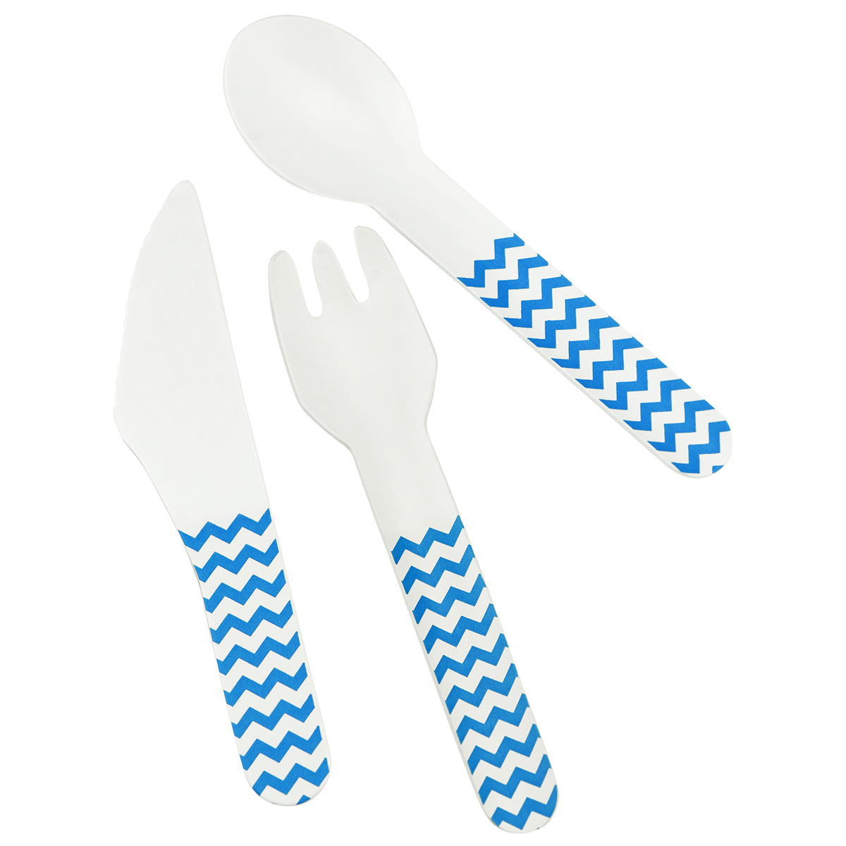 Displaying a set of skyblue zigzag paper cutlery, which includes knife, fork and spoon