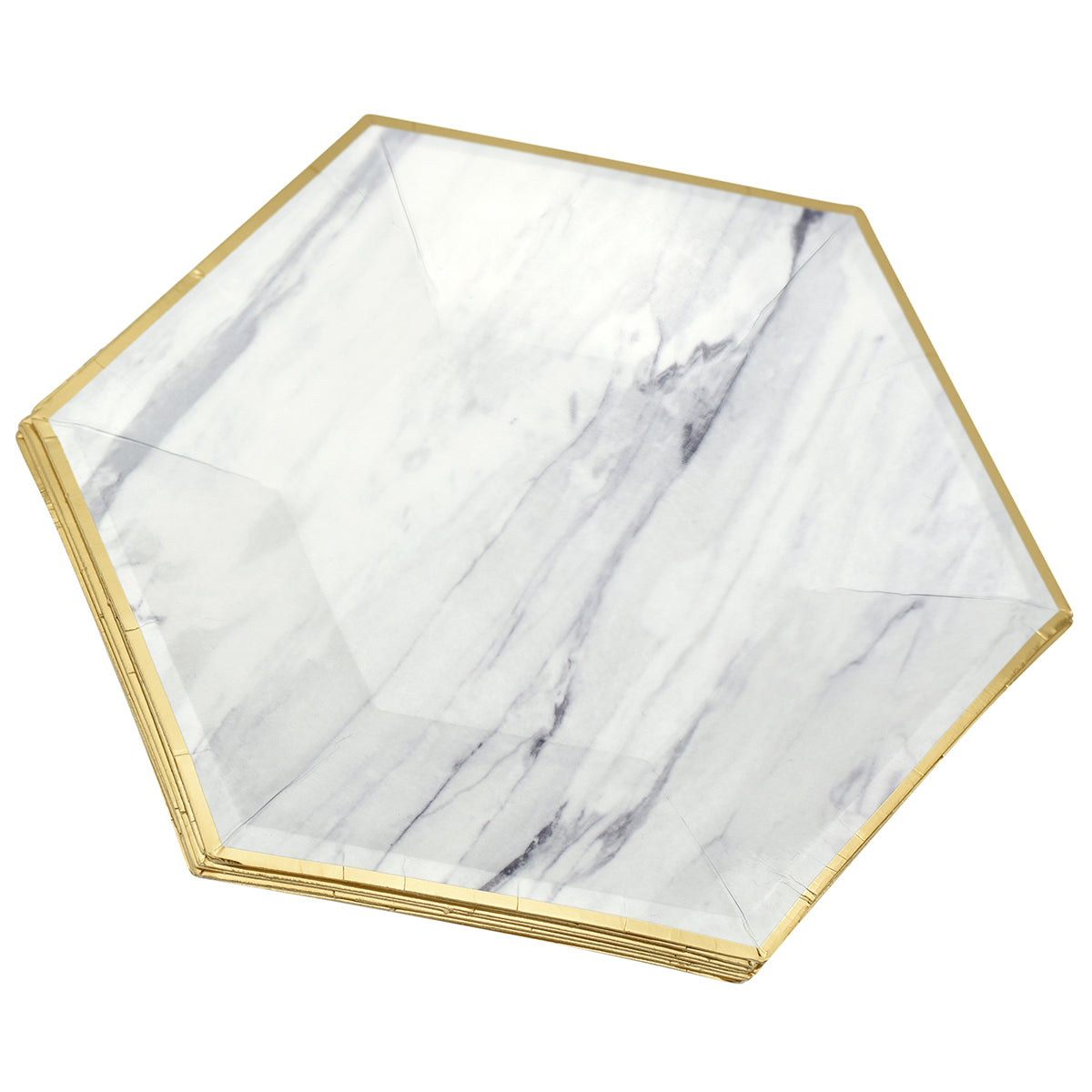 A hexagon paper plate with marble design